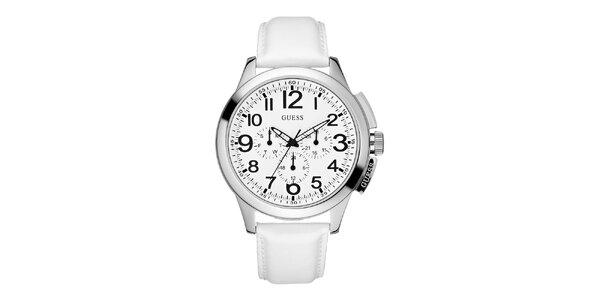 Pánske biele hodinky so strieborným púzdrom Guess