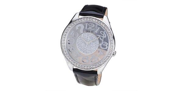 Dámske hodinky s lunetou z drobných kamienkov Guess