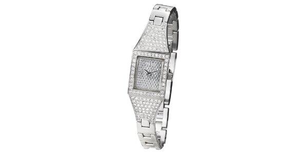 Dámske hodinky s hranatým ciferníkom vykladaným kamienkami Guess