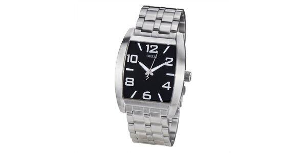 Pánske ocelové hodinky s čiernym hranatým ciferníkom Guess