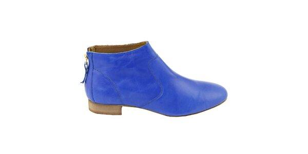 Dámske nebesky modré kožené členkové topánky na zips Eye