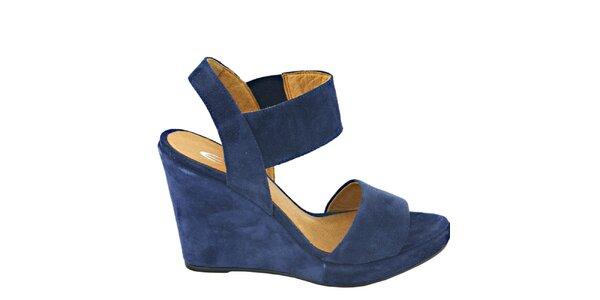 Dámske tmavo modré semišové sandálky na platforme Eye