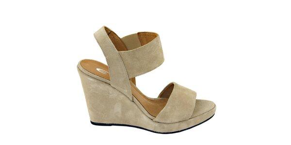 Dámske béžové semišové sandálky na platforme Eye