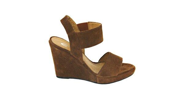 Dámske orieškovo hnedé semišové sandálky na platforme Eye