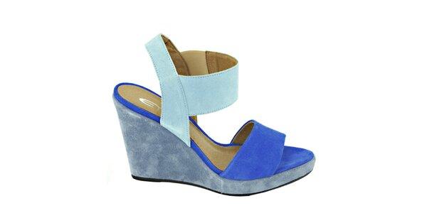 Dámske kobaltově modré sandálky na platforme Eye