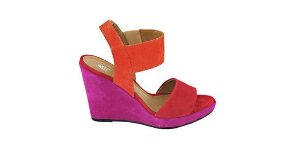 Dámske červeno-fuchsiové sandálky na platforme Eye