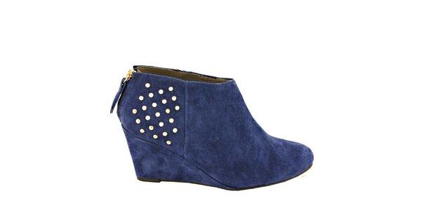 Dámske modré semišové členkové topánky s cvočkami na opätku Eye