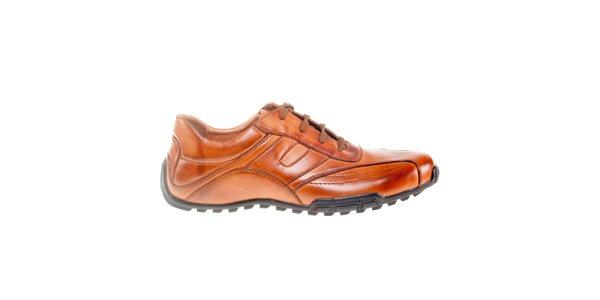 Pánske koňakovo hnedé šnurovacie topánky Quattrocento