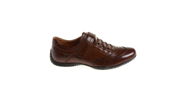 Pánske hnedé topánky so suchým zipsom Quattrocento