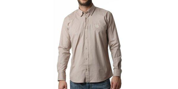 Pánska béžová košeľa s dlhým rukávom Frank Ferry