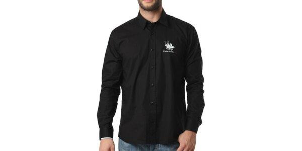 Pánska čierna košeľa s dlhým rukávom Frank Ferry