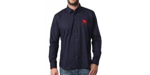 Pánska tmavo modrá košeľa s dlhým rukávom Frank Ferry