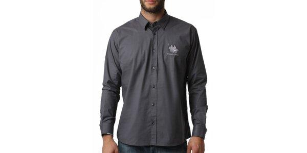 Pánska šedá košeľa s dlhým rukávom Frank Ferry