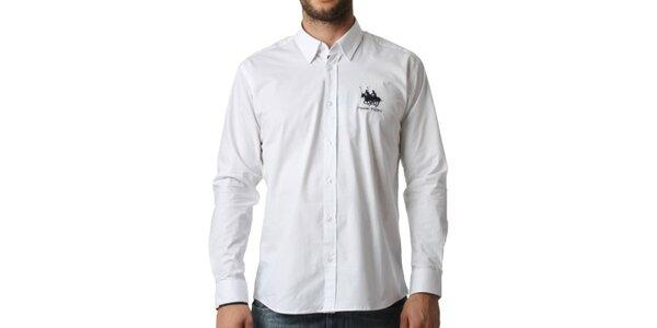 Pánska biela košeľa s dlhým rukávom Frank Ferry