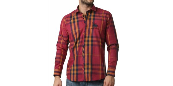 Pánska červeno-žltá kockovaná košeľa Frank Ferry