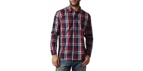 Pánska červeno-modro-biela kockovaná košeľa Frank Ferry