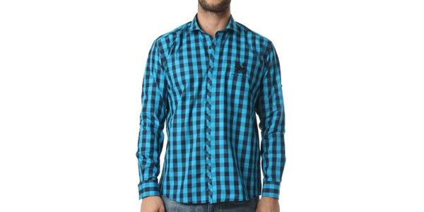 Pánska tyrkysovo-modrá kockovaná košeľa Frank Ferry