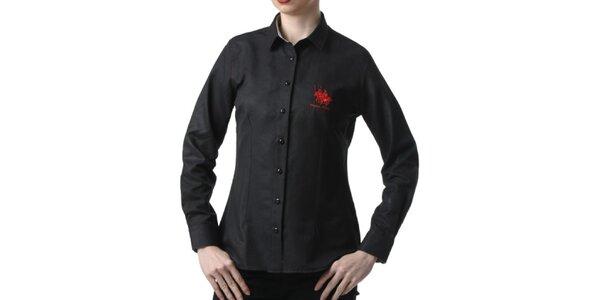 Dámska čierna košeľa s výšivkou Frank Ferry