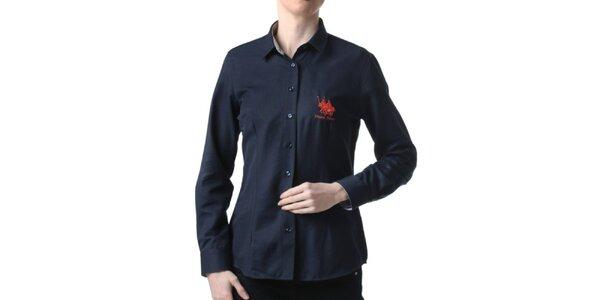 Dámska tmavo modrá košeľa s výšivkou Frank Ferry