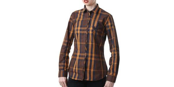 Dámska hnedo kockovaná košeľa Frank Ferry