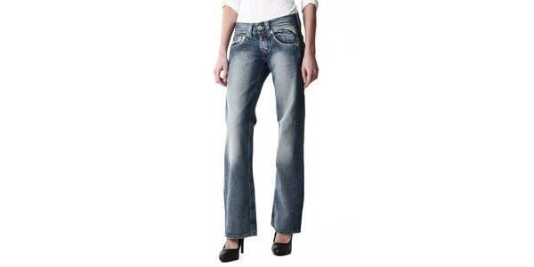 Dámske modré šisované džínsy voľného strihu Replay