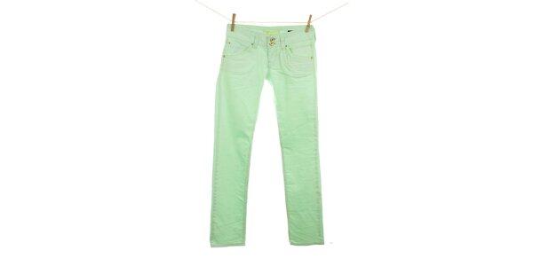 Dámske žiarivo zelené džínsy Fuga