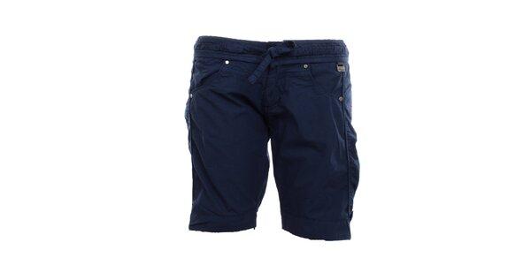 Dámske petrolejovo modré kraťasy s mašľou Exe Jeans