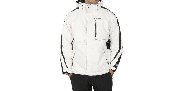 Pánska biela športová bunda Columbia s černými detailami a membránou