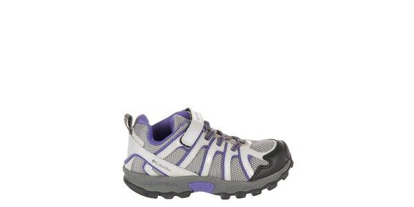 Detské nízke svetlo šedé trekové topánky Columbia s fialovými detailami