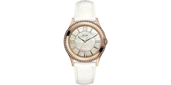 Dámske zlaté hodinky s perleťovým ciferníkom Guess