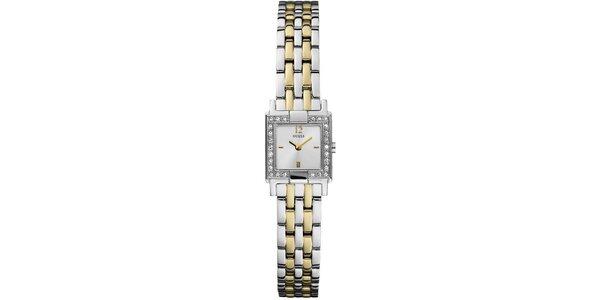 Dámske strieborno-zlaté hodinky s kryštálikmi Guess