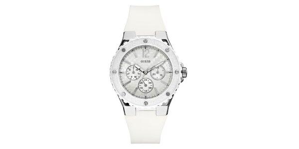 Dámske strieborné hodinky s bielym remienkom Guess