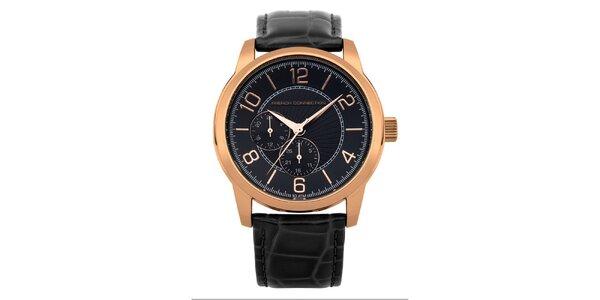 Pánske zlaté hodinky s čiernym ciferníkom French Connection