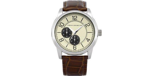 Pánske strieborné hodinky so svetlým ciferníkom French Connection