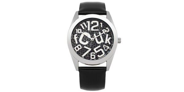 Dámske hodinky s čiernymi kamienkami French Connection