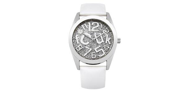Dámske strieborné hodinky s kamienkami French Connection