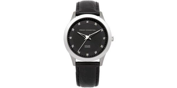 Dámske strieborné hodinky s čiernym ciferníkom French Connection