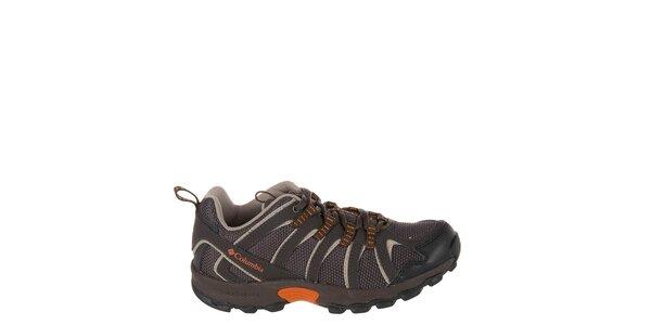 Detské nízke tmavo hnedé trekové topánky Columbia
