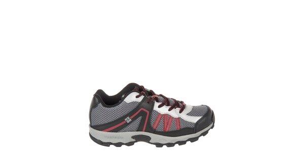 Detské nízke šedo-čierne trekové topánky Columbia s červenými detailami