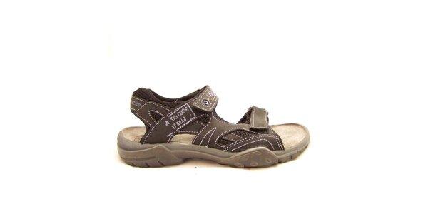 Pánske hnedé sandále s prešívaním Numero Uno