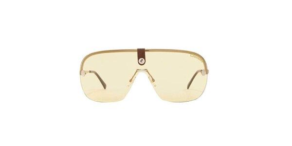 Zlaté slnečné okuliare s hnedým zakončením straníc Carrera