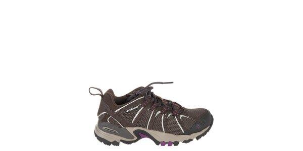 Dámske nízke tmavo hnedé trekové topánky Columbia