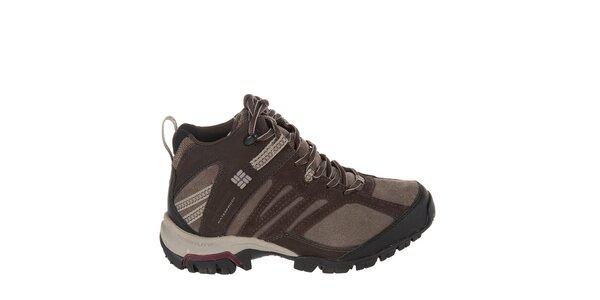 Dámske tmavo hnedé kotníkové trekové topánky Columbia