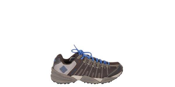 Dámske nízke tmavo hnedé trekové topánky Columbia s modrými detailami
