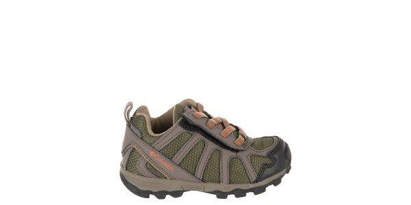 Detské nízke hnedo-zelené trekové topánky Columbia s oranžovými detailami