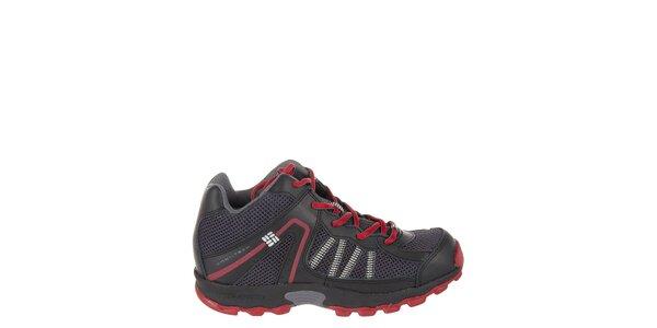 Detské nízke čierne trekové topánky Columbia s červenými detailami