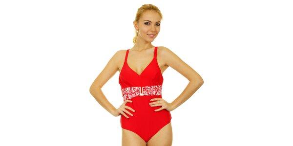 Dámske sýto červené jednodielne plavky Anizzia s bielym opaskom