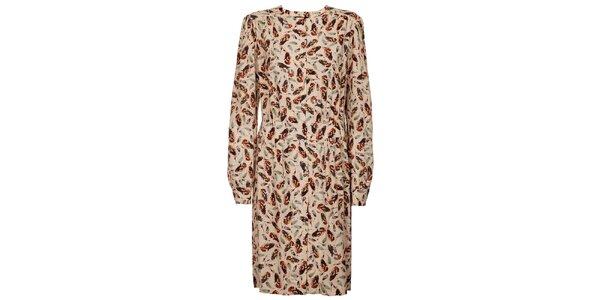 Dámske krémové šaty Pietro Filipi s potlačou vtáčích pier