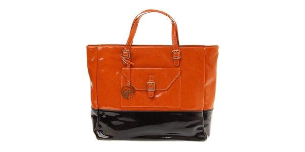 Dámska čierno-oranžová lakovaná kabelka Pietro Filipi