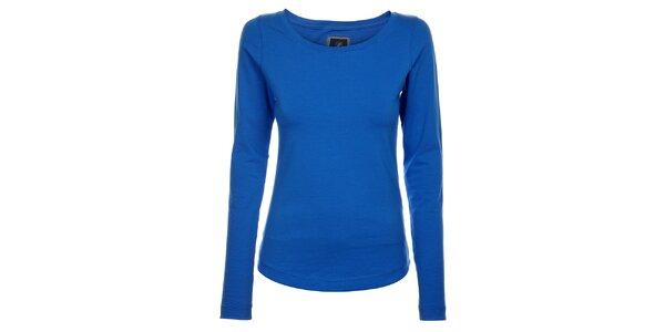 Dámske azúrovo modré bavlnené tričko Pietro Filipi s dlhým rukávom